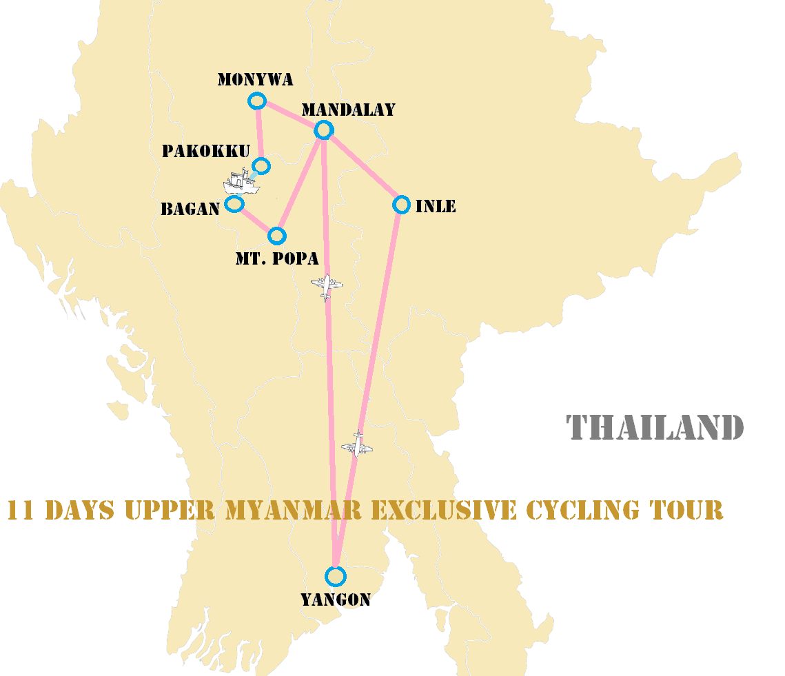Cycling in Myanmar Map - Burma Cycling Trip Map