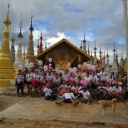 2016 Nov_9 Days Bike Tour: Women for Women cycle group 43 pax celebration at Inle Lake