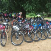2016 Nov_9 Days Bike Tour: Women for Women cycle group 43 pax (on the way from Bagan to Mt. Popa)